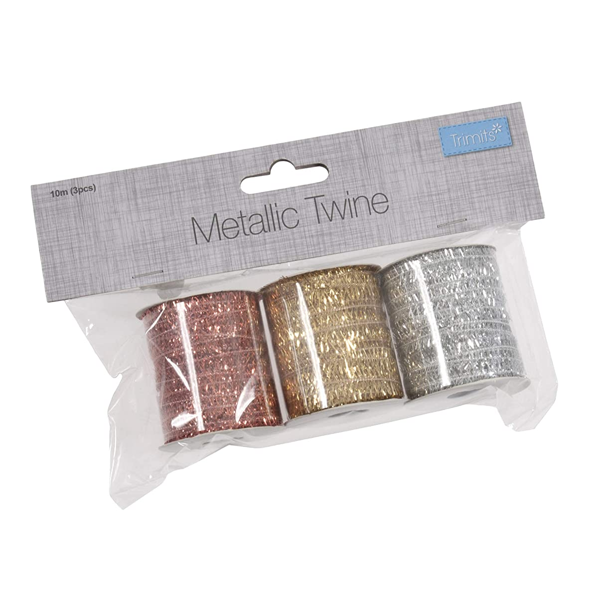 Trimits Metallic Twine Bag: 10m: Copper, Gold and Silver: 3 Pieces