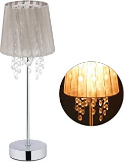 Relaxdays 10029521 Lampe de table cristal, Abat-jour en organza, pied rond, veilleuse, HxD 41 x 14,5 cm, gris/argenté, fe...
