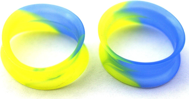 Zaya Body Jewelry Pair of Yellow Blue Tie Dye Silicone Ear Stretching Tunnels