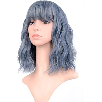"VCKOVCKO Wavy Wig Short Bob Wigs With Air Bangs Shoulder Length Women's Short Wig Curly Wavy Synthetic Cosplay Wig Pastel Bob Wig for Girl Colorful Costume Wigs(12"", Mix Blue)"