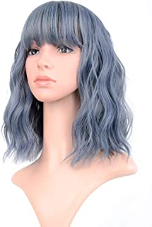 VCKOVCKO Wavy Wig Short Bob Wigs With Air Bangs Shoulder Length Women's Short Wig Curly Wavy Synthetic Cosplay Wig Pastel Bob Wig for Girl Colorful Costume Wigs(12