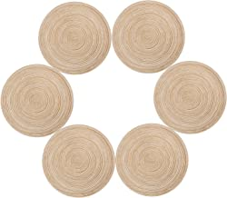 Topotdor Round Placemats Heat-Resistant Stain Resistant Anti-Skid Washable Polyproplene Table Mats Placemats (Set of 6, Ivory)