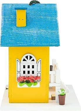 CLEVER GARDEN Hanging Birdhouse, Decorative Outdoor Bird Feeder for Hummingbirds and Wild Birds, Yellow Cottage