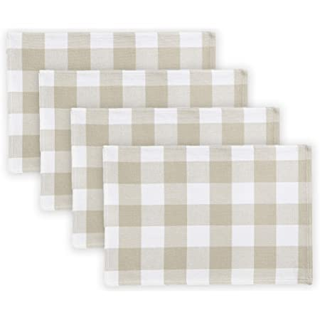 C F Home Franklin 13 X 19 Buffalo Check Gingham Plaid Woven Sandstone Tan Cotton Reversible Machine Washable Placemat Set Of 6 Rectangular Placemat Set Of 6 Tan Home Kitchen