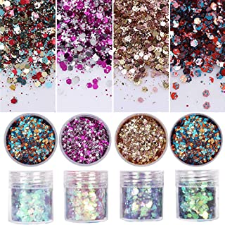 8 Colors Chunky Glitter Nail Sequins Iridescent Flakes Colorful Mixed Paillette Face Body Hair Nail Art mermaid Makeup(color1)