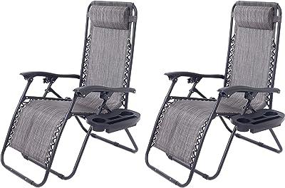 BTEXPERT 15045GR-2 Two Pack, utillity Cup Holder Zero Gravity Chair Case Lounge Patio Pool Beach Yard Garden, Gray