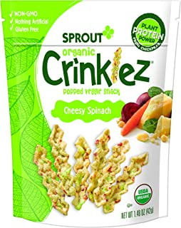 Sprout Organic Crinklez Toddler Snacks, Cheesy Spinach, 1.5 Ounce Bag (Pack of 8)