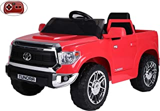 Rock Wheels Licensed Toyota Tundra Ride-On Truck Car, 12V Battery Powered Electric 4 Wheels Kids Toys w/ Remote Control, Foot Pedal, Music, Aux, LED Headlights, 2 Speeds (Red)