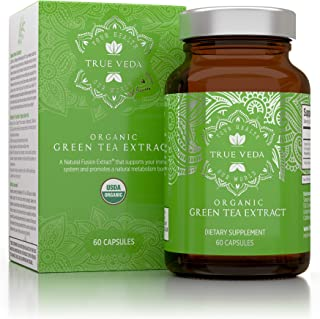 Organic Green Tea Extract Capsules – USDA Organic Certified   60 Green Tea Pills   EGCG Green Tea Extract   Green Tea Fat Burner   Promote Natural Weight Loss Supplement   Metabolism Booster