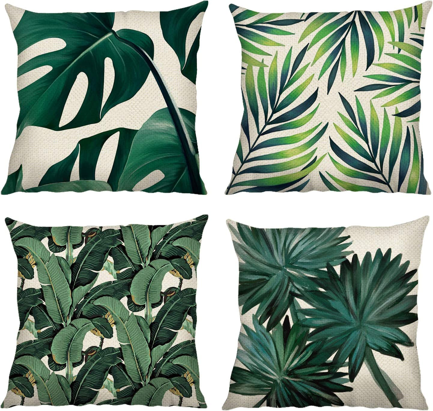 Bonhause Tropical Leaves Throw Pillow Covers 20 x 20 Inch Set of 20 Green  Leaf Decorative Pillow Cases Polyester Linen Cushion Covers for Sofa Couch  ...