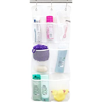 Evelots Mesh Shower Caddy-Organizer-6 Pockets-Shampoo-Soap-Razor-Quick Dry