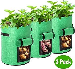 Tengcong Potato Grow Bags,3 Pack 7 Gallon Plant Grow Bags Fabric Pots Premium Breathable Cloth Bags for Potato/Plant Conta...