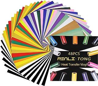 "HTV Iron on Vinyl Bundle, 12""X12"" Permanent Vinyl Sheets for T-Shirts, Heat Transfer Vinyl for Cricut & Silhouette, 48 Pac..."