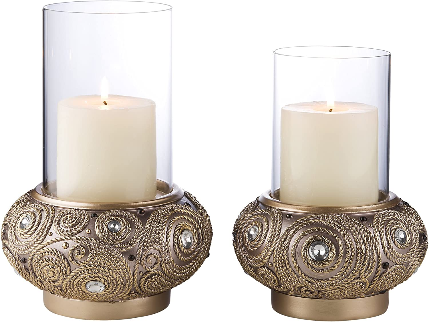 OK Lighting Import Golden Swirl Candleholder Candle Set Topics on TV Included Not