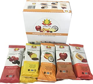 Amrita Paleo Superfood Energy Bars Variety 10 Pack - Soy-Free, Dairy-Free, Non-GMO Certified - Vegan, Raw and Kosher, Clean Fuel for Athletes - 5 Unique Flavors