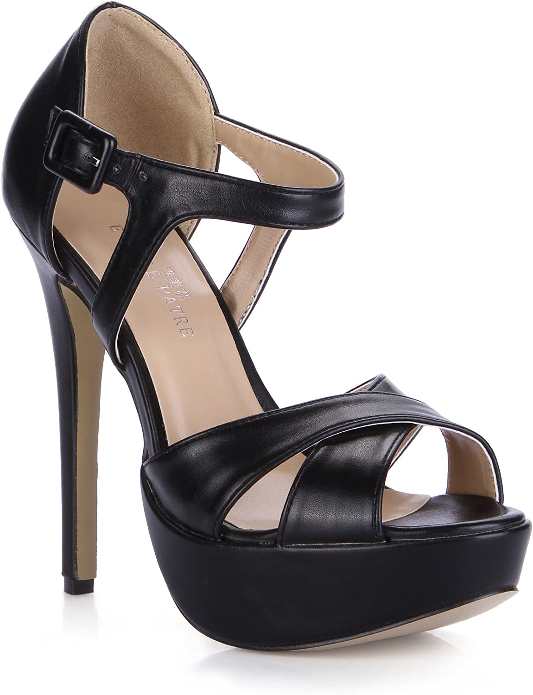 DolphineGirl Women Ladies Fashion Black Platform Open Toe Ankle Strap High Heel Sandals Pumps shoes SM00287