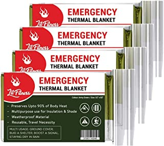 LIT FITNESS Emergency Blankets (Pack of 4) Thermal Blankets, Space Blanket Designed for Outdoors, Hiking, Survival, Marath...