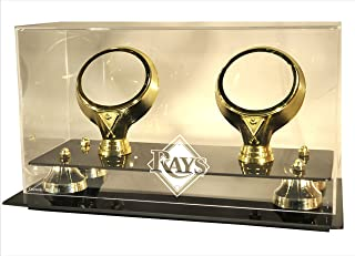 MLB Tampa Bay Rays Double Baseball Gold Ring and Risers Display Case