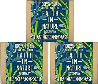 Faith in Nature All-Natural Bar Soap, Rosemary (100 gram Bar, 3-Pack); Pure Hand and Body Soap Handmade w/Organic Rosemary...