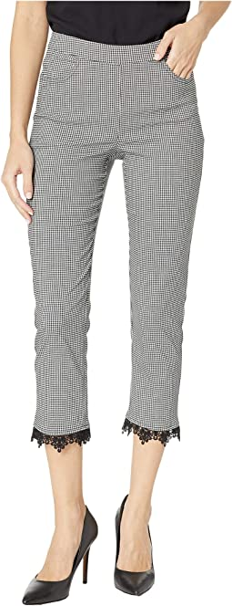 Gingham Pull-On Capris with Lace Hem