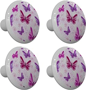 Set of 4 Pink and Purple Butterfly Drawer Knobs