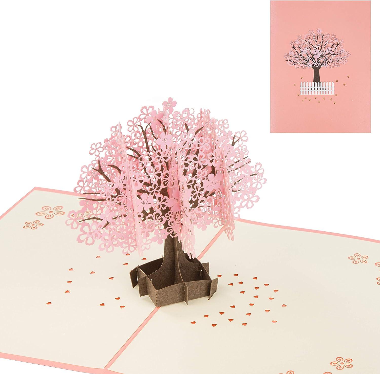 Tarjetas de Felicitación Cerezo 3D Pop up Tarjetas día de la Madre tarjeta con Sobre Tarjeta de Cumpleaños para La Familia Niños Amigos Feliz Cumpleaños Graduación Boda