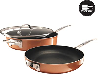 Gotham Steel Stackable 3 Piece Frying Pan Cookware Set– Stackmaster Ultra Nonstick Cast Texture Ceramic Coating, Stacks and Nests within Each Other - Dishwasher Safe
