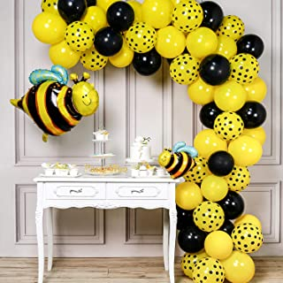 PartyWoo Bee Balloons, 72 pcs Black and Yellow Balloons, Yellow Polka Dot Balloons, Bee Foil Balloon, Bee Mylar Balloon, Bumble Bee Balloons for Bee Baby Shower Decorations, Bee Birthday Decorations