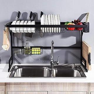 رف تجفيف الصحون فوق الحوض، مصفاة أطباق وحامل لتخزين الأواني وأدوات المطبخ برف من الستانلس ستيل (أسود)