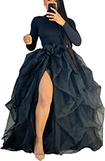 Women Tutu Long Skirt High Waist Layered Tulle Maxi Puffy...