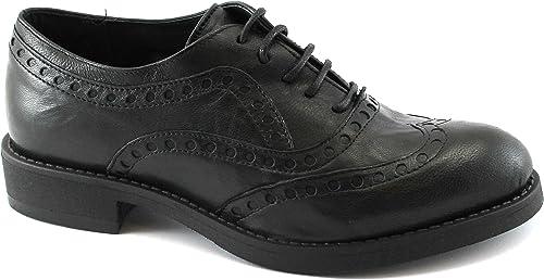 Divine Follie Chaussures en Cuir Noir 1301 de Brogues Orteil