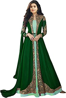 Bipolar Life Women's Faux Georgette Embroidery anarkali Semi Stitched Salwar Suit