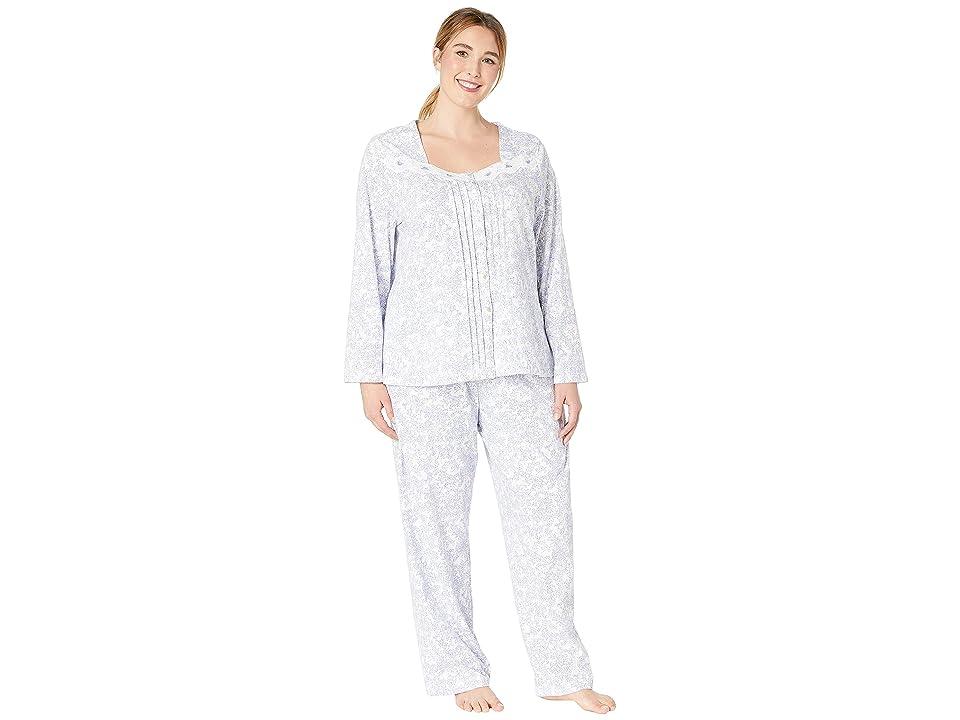 Carole Hochman Plus Size Soft Jersey Long Pajama Set (Lilac Vine Floral) Women