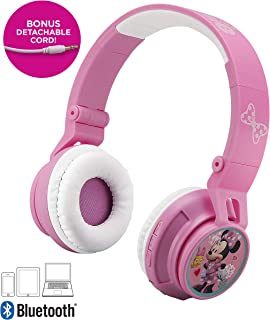 Minnie Mouse Kids Bluetooth Headphones for Kids Wireless Rechargeable Foldable Bluetooth Headphones with Microphone Kid Friendly Sound & Bonus Detachable Cord