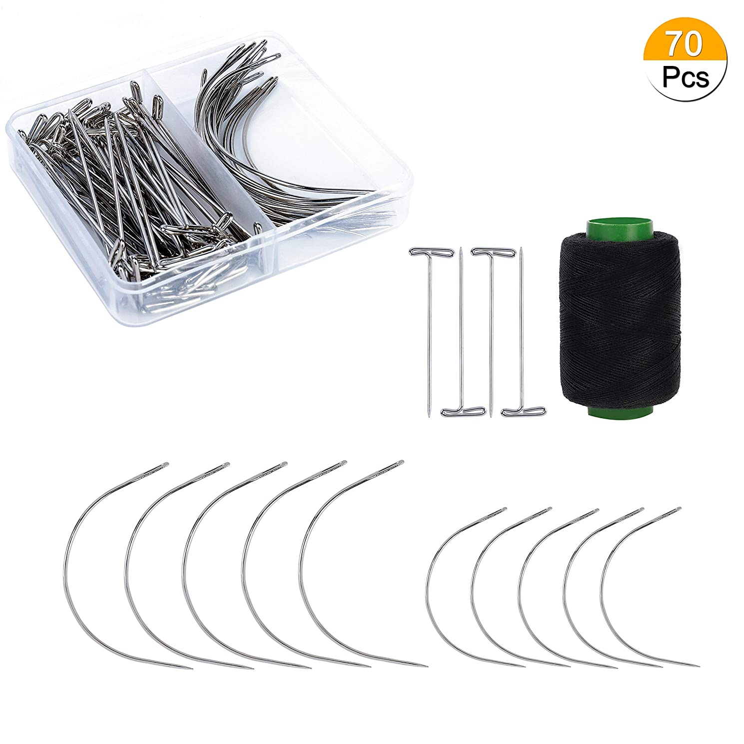 Wig Pins, T-pins and C Curved Needles Set Stainless Steel 70PCS for Hair Weave Extension with 328 Yards Thread, Lace Wigs, Knitting Craft