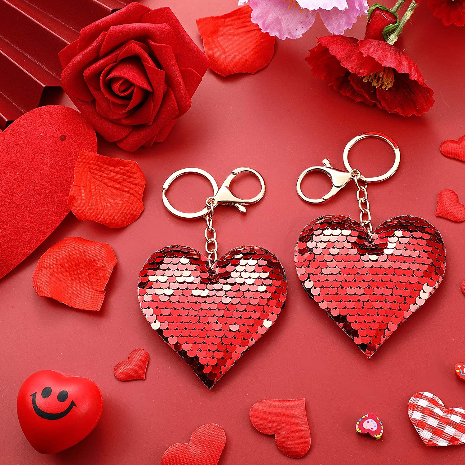 Rose Red 24 Pieces Valentine Heart Sequin Keychains Glitter Flip Key Rings Double-Sided Heart Shape Key Chains for Valentines Day Party Favors Backpack Accessories