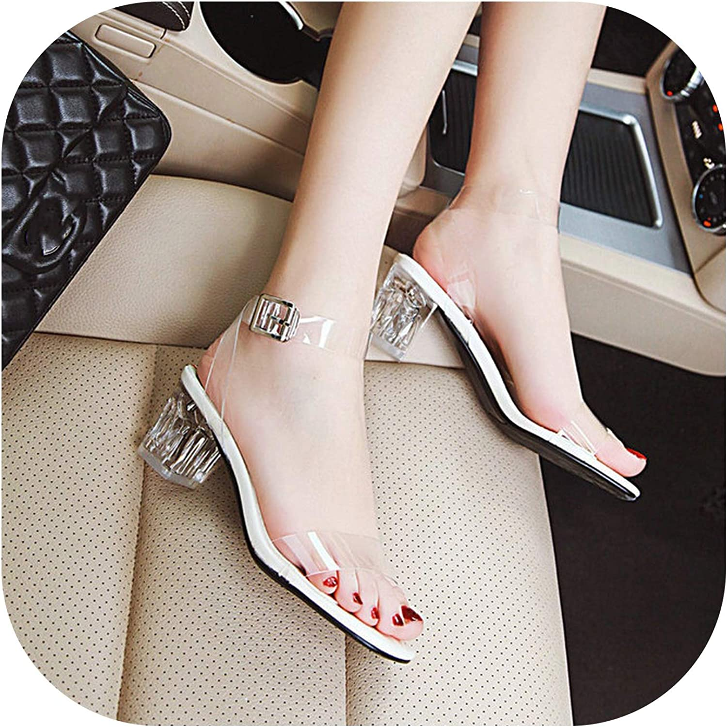 2019 Women Summer shoes Sexy Transparent Sandals Female Thick Low Heels Buckle Open Toe Casual Dress Party Women