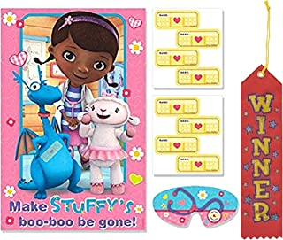 Doc McStuffins Pin The Tail on The Donkey Style Party Game with Blindfold & Stickers! Plus 1st Winner Ribbon!