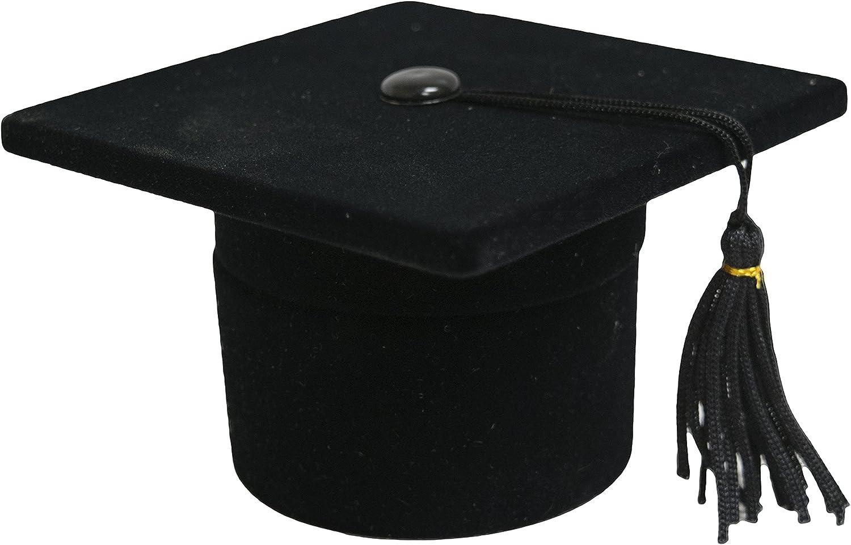 Novel Box Flocked Velvet Graduation Cap Novelty Jewelry Ring/Ear