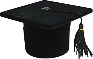 Novel Box Flocked Velvet Graduation Cap Novelty Jewelry Ring/Earring Box