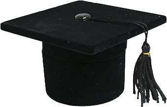 Novel Box Flocked Velvet Graduation Cap Novelty Jewelry Ring/Earring Box