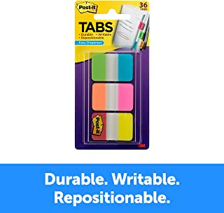 Post-it Tabs, 1 in. Solid, Aqua, Yellow, Pink, Red, Green, Orange, Durable, Writable, Repositionable, Sticks Securely, Removes Cleanly, 6/Color, 36/Dispenser, (686-ALOPRYT)