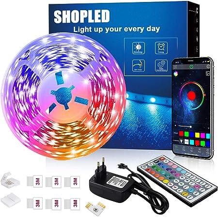 Striscia LED 6M, SHOPLED Bluetooth Music Sync SMD 5050 RGB Luci LED con Controllo Dell'Applicazione, Telecomando a 44 Tasti, Adatto per Camera da Letto, Cucina, TV, Feste, Decorazione Della Stanza