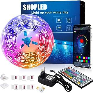 Tira LED 6M, SHOPLED Bluetooth Music Sync SMD 5050 RGB Tiras LED con Control de Aplicación, 44 Teclas de Control Remoto pa...