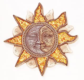 MAI Smiling Sun Stepping Stone, 11.25 Inches, Orange Sparkles, Smiling and Winking Sun Face with Rays