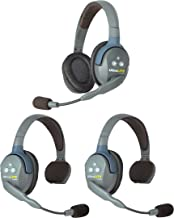 $580 » Eartec UL321 UltraLITE Full Duplex Wireless Headset Communication for 3 Users - 2 Single Ear and 1 Dual Ear Headsets