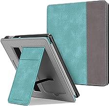 CaseBot Stand Case for All-Kindle Oasis Kindle (10th Generation، 2019 انتشار و 9th Generation، 2017 نسخه) - Premium PU چرم آستین جلد با شکاف کارت و تسمه دست ، فیروزه ای / قهوه ای