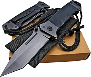 Snake Eye Tactical Action Assisted Knife G-10 Handle 8Cr13MoV Razor Sharp Blade - Every Day Carry - Includes Landyard and Heavy Duty Sheath. Bundle – 2 Items: 1 Knife and 1 Sheath (Black)