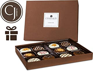 Chain & Jo Sweets Father's Day Chocolate Covered Cookies, Gift Box Assortment,Dairy Chocolate,6 Toppings,12 Cookies Gift Basket, Fathers Day Gift For Best Dad, Grandfather, Husband, Kosher (Classic)