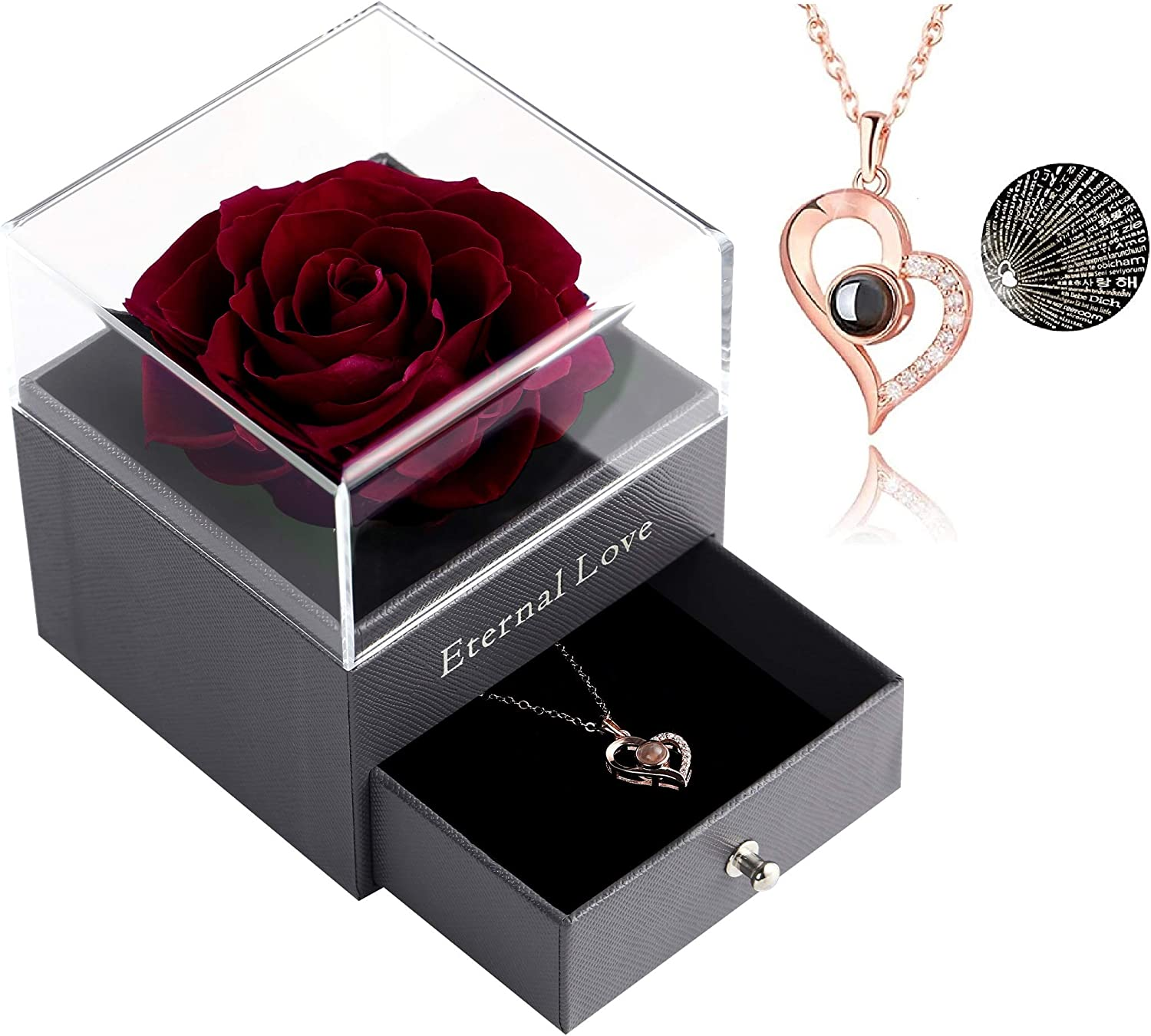 Ranking TOP15 Preserved Rose Drawer with Special Necklace Handmade Albuquerque Mall Heart Fres